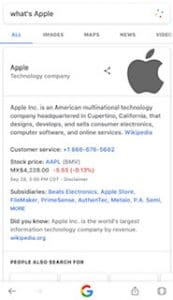 searching what's apple and semantic search shows the company and not apple