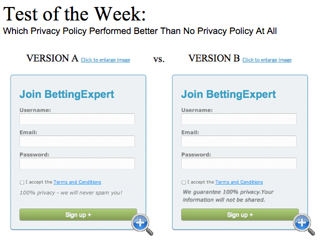 privacy policy landing page test