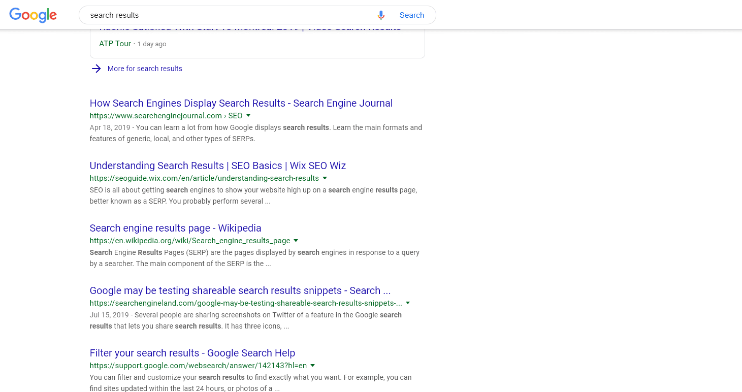 Google search results page 1 for search results