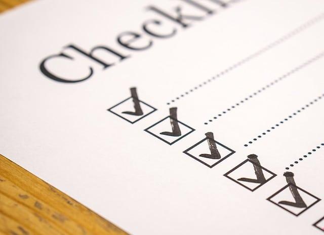 checklist listing