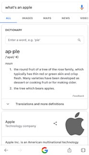 """searching """"apple"""" on search engines to see what comes up"""