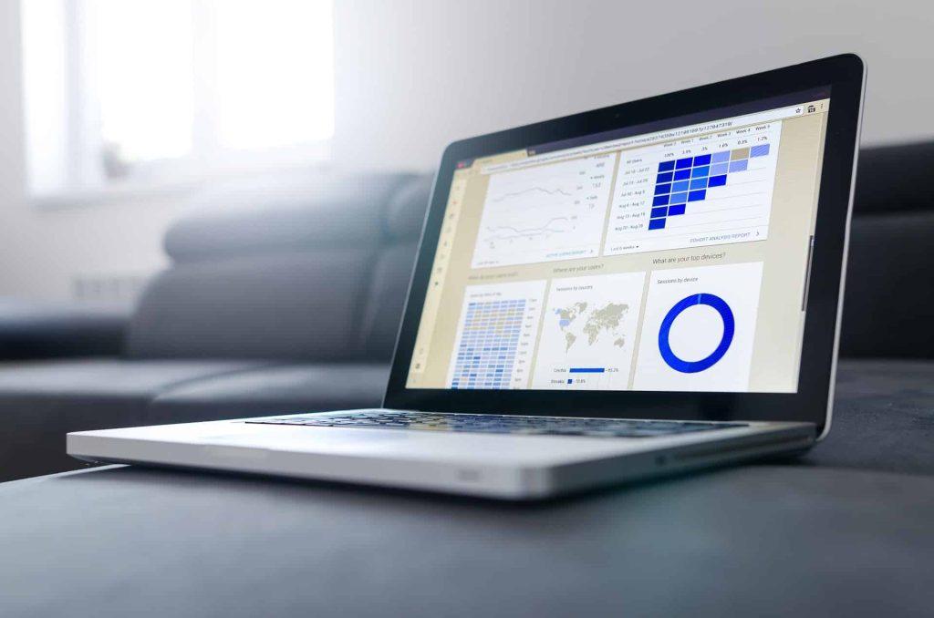 a computer showing web statistics